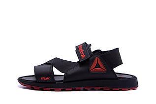 Чоловічі шкіряні сандалі Reebok Track Black (репліка)