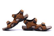Чоловічі шкіряні сандалі DEFF olive, фото 3