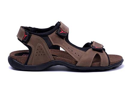 Мужские кожаные сандалии E-series Active Drive Olive (реплика), фото 2