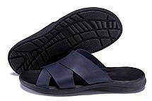 Мужские кожаные  летние шлепанцы-сланцы Е-series   Blue (реплика), фото 2