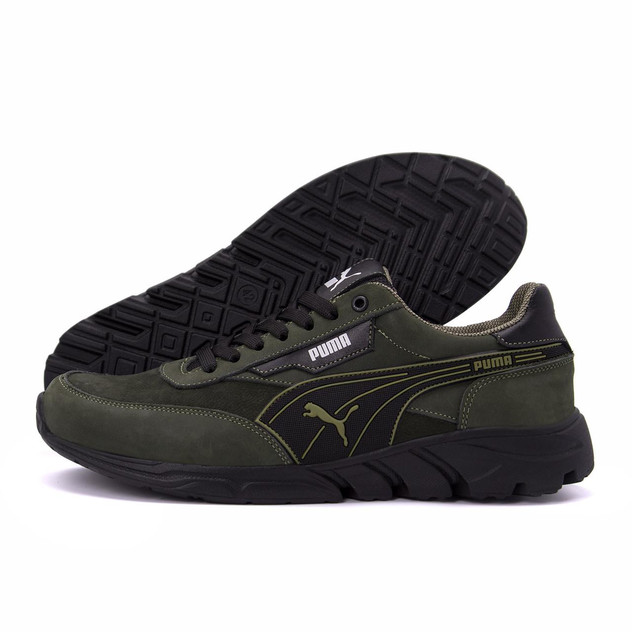 Чоловічі шкіряні кросівки Puma Anzarun Green (репліка)