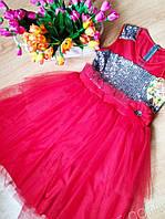 Нарядное платье для девочек 6-12 лет Турция, пайетка, фатин, красный