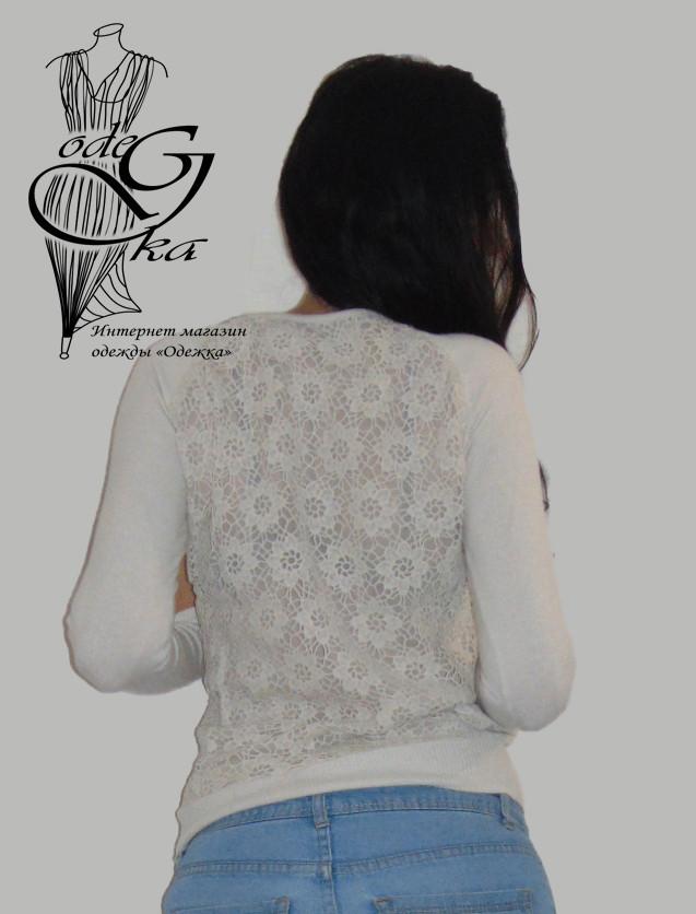 Фото-1 Женского пуловера черного цвета с украшенной камнями горловинкой и ажурной спинкой Лилиана SvLl315