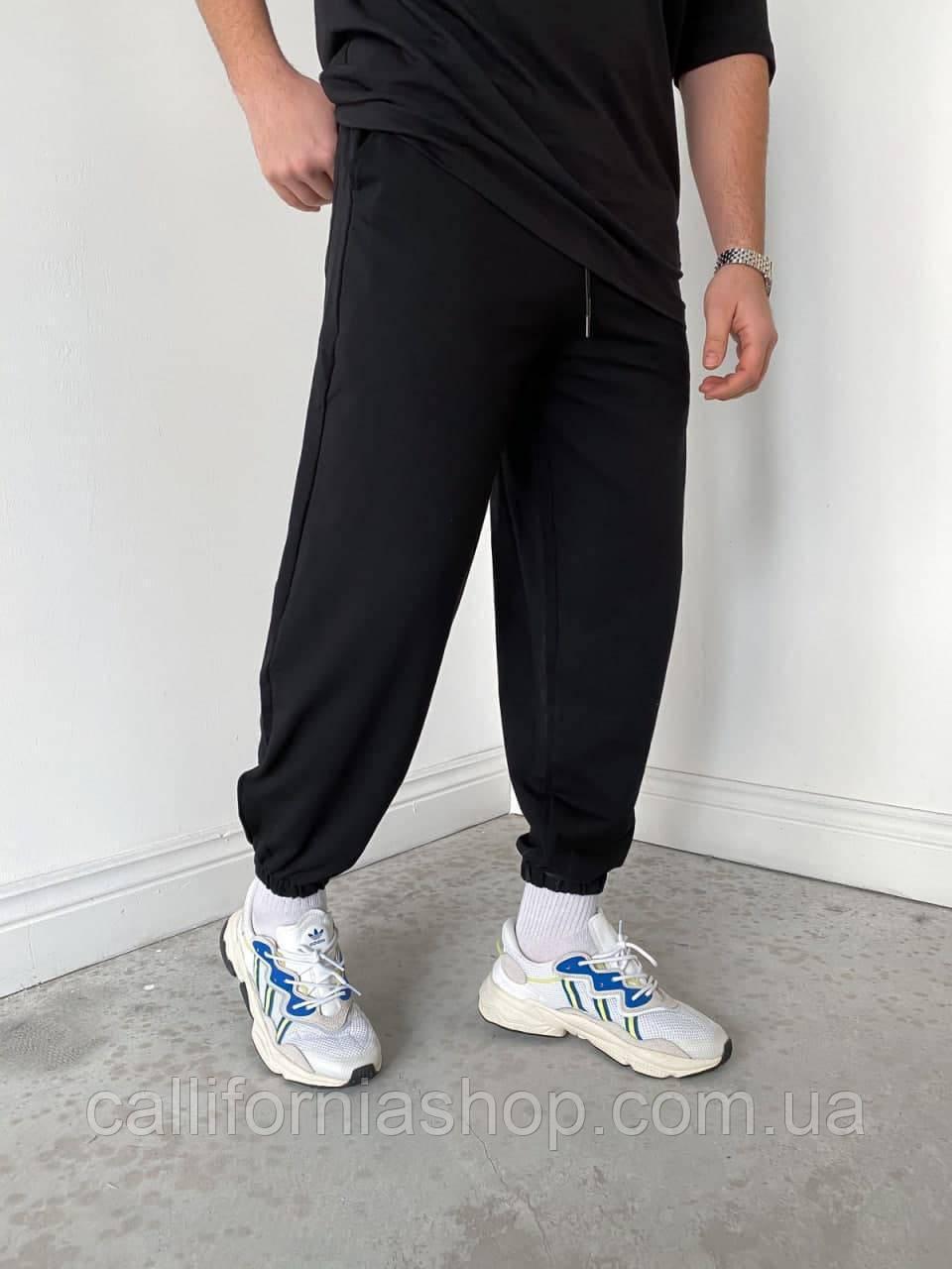Штаны мужские спортивные черные свободные с манжетами внизу