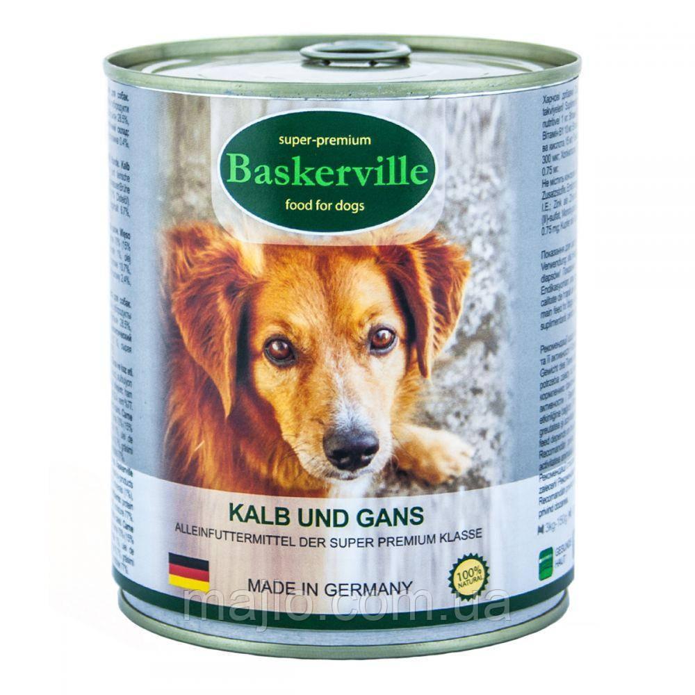 Вологий корм для собак Baskerville Телятина і м'ясо гусака 400 г
