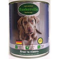 Влажный корм для собак Baskerville Ягненок и петух 800 г