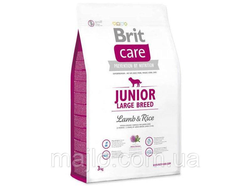 Сухой корм для щенков и молодых собак крупных пород Brit Care Junior Large Breed Lamb & Rice 3 кг