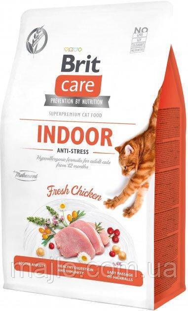 Сухий корм для кішок, що живуть в приміщенні Brit Care Cat GF Indoor Anti-stress з куркою 2 кг (8595602540853)
