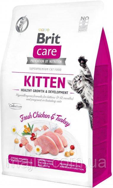 Сухий корм для кошенят Brit Care Cat GF Kitten Growth & Developmen з куркою та індичкою 2 кг (8595602540679)
