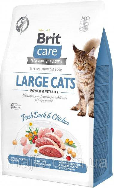 Сухой корм для кошек крупных пород Brit Care Cat GF Large cats Power & Vitality с уткой и курицей 2 кг