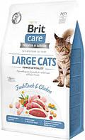 Сухой корм для кошек крупных пород Brit Care Cat GF Large cats Power & Vitality с уткой и курицей 2 кг, фото 1