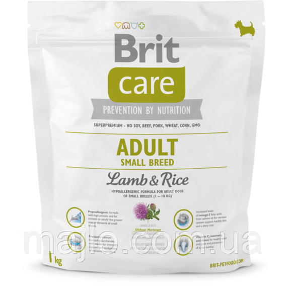 Сухий корм для дорослих собак дрібних порід Brit Care Adult Small Breed Lamb & Rice 1 кг (8595602509904) 132708