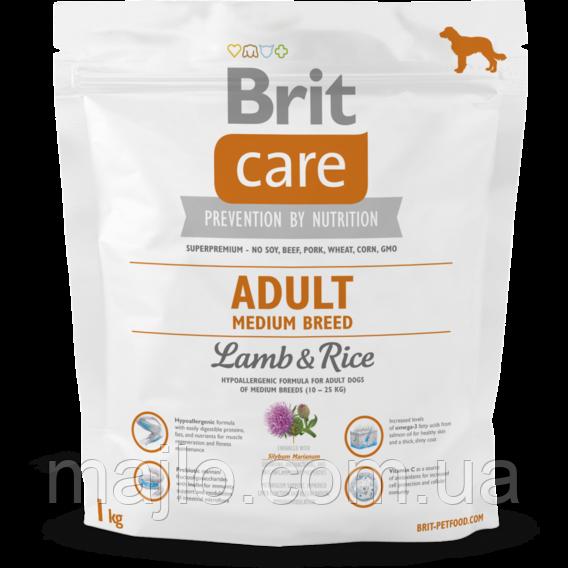Сухий корм для дорослих собак середніх порід Brit Care Adult Medium Breed Lamb & Rice 1 кг (8595602509942)