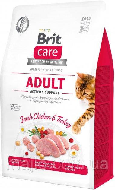 Сухий корм для кішок, що живуть на вулиці Brit Care Cat GF Adult Activity Suppor з куркою та індичкою 0.4 кг