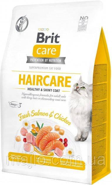Сухой корм для кошек требующих ухода за кожей и шерстью Brit Care Cat GF Haircare Healthy & Shiny Coat с
