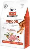 Сухой корм для кошек живущих в помещении Brit Care Cat GF Indoor Anti-stress с курицей 0.4 кг (8595602540860), фото 1