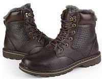 Мужские зимние ботинки из натуральной кожи большие размеры