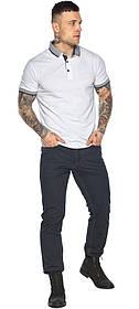Модная белая футболка поло мужская модель 5425