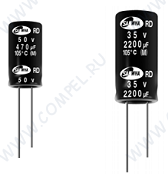 3300uF 10V RD 12x20mm (ECAP 3300/10V 1220 105C RD Samwha) (электролитический конденсатор)