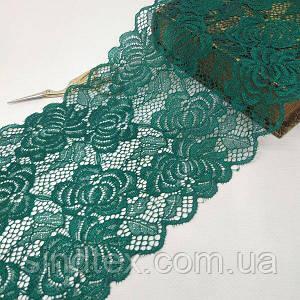 (1 метр) кружево гипюр стрейч, 17см Цвет зеленый (КС-10020-з)
