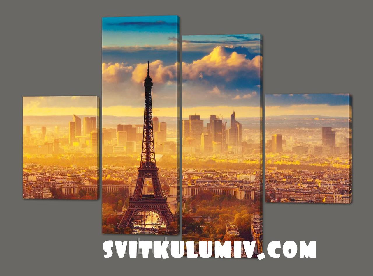 Модульная картина на коже Эйфелева башня с высоты 120*93 см Код: 227.4k.120
