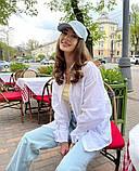 Рубашка женская льняная белый малина изумруд синий 42-46 48-52, фото 7