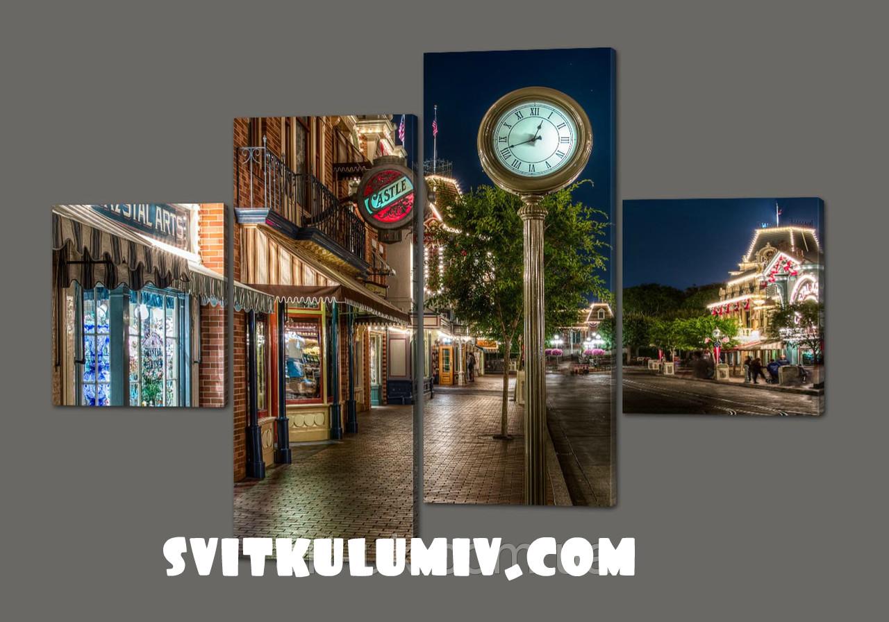 Модульная картина Улица. Часы 160*114 см Код: 349.4к.160