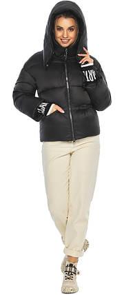 Куртка з брендового фурнітурою чорна жіноча модель 41975, фото 2