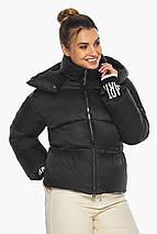 Куртка з брендового фурнітурою чорна жіноча модель 41975, фото 3