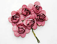 Цветы бумажные Бордовые 4 см на проволоке 6 шт/уп