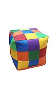 Безкаркасне Крісло, Пуф Рубік для дітей з чохлом з тканини Оксфорд, наповнювач-гранули різнобарвний 35х35х35см