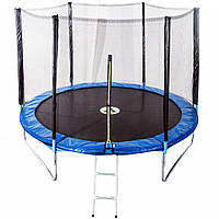 Спортивно-игровой Батут с внешней защитной сеткой для улицы, нагрузка до 90 кг, 36 пружин, D= 183 cм, синий