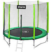 Спортивно-игровой Батут с внешней защитной сеткой, лесенкой, нагрузка до 90 кг, 36 пружин, D= 183 cм, зеленый