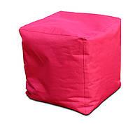 Безкаркасне Крісло, Пуф Куб для дітей з чохлом з тканини Оксфорд, наповнювач-гранули 40х40х40 см, червоний