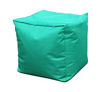 Безкаркасне Крісло, Пуф Куб для дітей з чохлом з тканини Оксфорд, наповнювач-гранули 50х50х50 см, бірюзовий