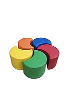 Комплект безкаркасних пуфів Веселка з 5 модульних елементів для ігрових кімнат і дитячих садів, пуф 48х37х35см