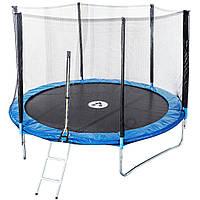 Спортивно-игровой Батут с сеткой, с лестницей, двойными ногами, лестницей, нагрузка до 180 кг, D=435 см, синий