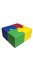 Комплект бескаркасных пуфов Пазл из 4 модульных элементов для игровых комнат и детских садов 80х80х40см