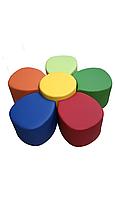 Комплект безкаркасних пуфів Квітка з 6 модульних елементів для ігрових кімнат і дитячих садів, пуф 40х42х35см