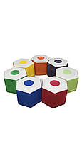 Комплект безкаркасних пуфів Олівець з 7 модульних елементів для ігрових кімнат та дитсадків, пуф 40х35х30 см
