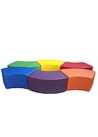 Комплект безкаркасних пуфів Змійка з 6 модульних елементів для дитячих садків та ігрових кімнат, пуф 79х41х35см