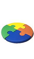 М'який безкаркасний ігровий мат Пазл для дитячих садків і розважальних центрів, діаметр 130 см, висота 10 см