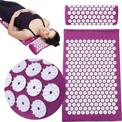 Коврик ортопедический массажный Фиолетовый Acupressure mat с подушкой 193757