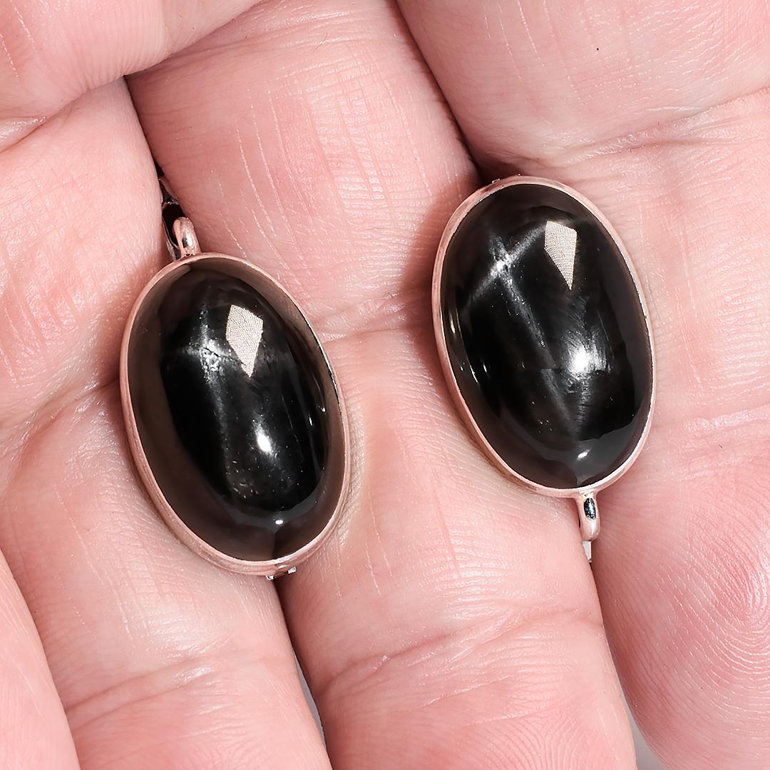 Срібні сережки з Диопсидом чорним зірчастим, 608СРД