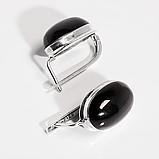 Срібні сережки з Диопсидом чорним зірчастим, 608СРД, фото 3