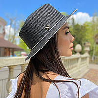 Шляпа женская летняя канотье с мерцающими камнями черная