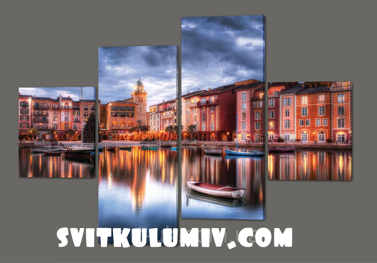 Модульная картина Город у реки 160*114 см Код: 254.4k.160