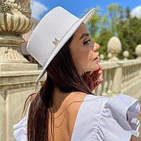 Шляпа женская летняя канотье с мерцающими камнями белая