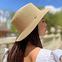 Шляпа женская летняя канотье с мерцающими камнями кофе с молоком (мокко)