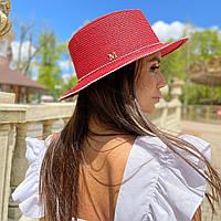 Шляпа женская летняя канотье с мерцающими камнями красная
